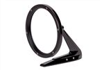 Gloss Black Round Billet Aluminum Side View Mirror with Smooth Leading Edge and Convex Glass