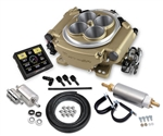 Holley Sniper EFI 4 Barrel Fuel Injection Conversion Self-Tuning Kit with Handheld EFI Monitor, Classic Gold Finish with Hose, Filter and Fuel Pump Kit