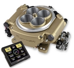 Holley SUPER SNIPER 4 Barrel EFI Fuel Injection Conversion Self-Tuning Kit with Handheld EFI Monitor, Classic Gold Finish