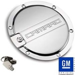2010 - 2011 Camaro Logo Locking Fuel Door - Chrome