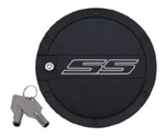 "2010 - 2011 Camaro ""SS"" Logo Locking Fuel Door - Two Tone (Black and Chrome)"