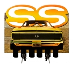 Yellow Camaro SS Metal Keychain Hanger With Wood Backing