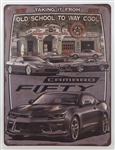 Camaro Laid Back Dream Garage Embossed Metal Tin Sign