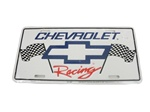 License Plate, Chevrolet Racing with Bow Tie Logo and Racing Flags