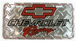 Chevrolet Racing License Plate w/ Red Bowtie Logo and Diamond Plating