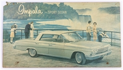 1962 Chevrolet Impala Sports Sedan Dealership Showroom Sign Poster Print, GM Original