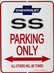 "Metal Sign ""SS PARKING ONLY ALL OTHERS WILL BE TOWED"" with Bowtie Logo"