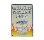 Camaro Parking Only Metal Sign, Blue Chevrolet Bowtie with Flames