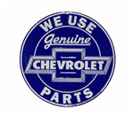 We Use Genuine Chevrolet Parts Blue and White Metal Sign
