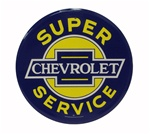 Chevrolet Super Service Metal Sign, 12 Inch Diameter