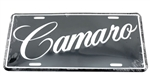 Camaro License Plate Black & Silver with Script Lettering
