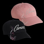 Ladies Chevy Camaro Baseball Cap Hat, Choose Pink or Black