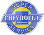 Super Chevrolet Service Die Cut Metal Sign