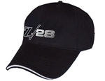 Black Baseball Hat Cap with Liquid Metal CHROME Z/28