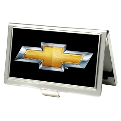 Chevy Bowtie Business Card Holder, Black / Gold