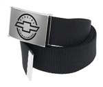 Genuine Chevrolet Brushed Silver Clothing Belt, Black Webbing