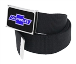Chevy Bowtie Black / Blue Clothing Belt, Black Webbing