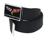 Corvette C6 Clothing Belt, Black Webbing