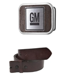 GM Framed Marquetry Black Walnut Woodgrain / Metal - Matte Rock Star Belt Buckle with Leather Belt