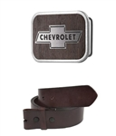 Chevy Bowtie Framed Marquetry Black Walnut Woodgrain / Metal - Matte Rock Star Belt Buckle with Leather Belt