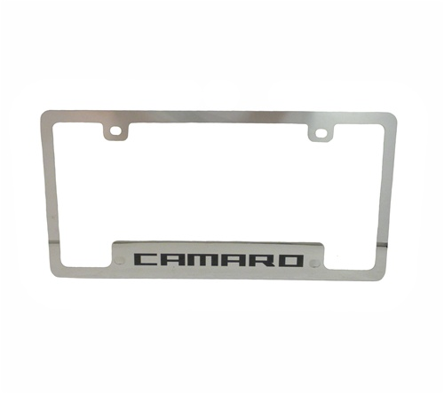 Stainless Steel CAMARO License Plate Frame, Squared Lettering