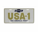 CHEVROLET USA-1 SEE AMERICA FIRST License Plate