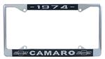 License Plate Frame, 1974 Chrome and Black