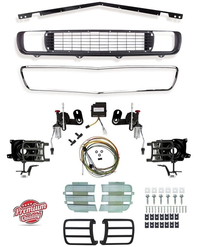 1969 Camaro Rally Sport Grille Kit with DSE Electric Motors, 122001 / 122003