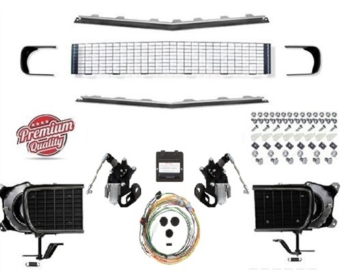1967 - 1968 Camaro Rally Sport Grille Kit with DSE Electric Motors, 122002  / 122004