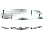 1974 - 1977 Camaro Billet Aluminum Grilles Replacement Set, Upper and Lower, Polished Face with Black Inner Details