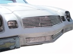 1978 - 1979 Camaro Billet Aluminum Grilles Replacement Set, Upper and Lower, Polished Face with Black Inner Details