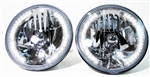 11967 - 1981 Camaro Halogen Crystal Halo Headlight Assemblies Set, 7 Inch with CLEAR 34 LED Auxiliary Bulbs, Pair