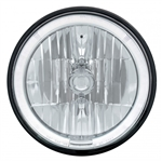 "1967 - 1981 Camaro 7"" Crystal Headlight with White LED Halo Ring Headlamp with 9007 Halogen Bulb, Sold Individually"