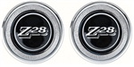 1977 - 1979 Door Panel Emblems (Window Crank Block Offs), Black Z28, Pair