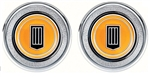 1979 - 1981 Door Panel Emblems (Window Crank Block Offs), Orange Badge, Pair