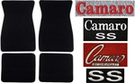1969 Camaro Floor Mats Set, Front and Rear Custom Carpeted with Embroidered Logos and Colors