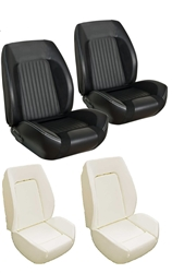 1967 - 1968 Camaro Custom TMI Sport R Seat Front Black Seat Covers and Foam Set, Standard Interior