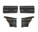 1968 Door Panels Set, Standard Interior Coupe / Convertible, Front and Rear, Pre-Assembled, Black