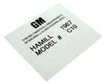 1967 - 1968 Hamill C10 Seat Belt Date Code Label Tag, Each