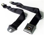 1967 Camaro Seat Belt, Rear, Deluxe, Black with Stainless Buckle and Fisher Coach Button, OE Style, Each