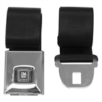 1968 - 1969 Seat Belt, Rear, Deluxe, Black with GM Button, Each