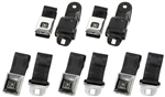 1968 - 1969 Camaro Seat Belt Set Front and Rear Black with Stainless Brushed Buckle and GM Button, OE Style, 5 Total