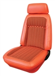 1969 Front Bucket Seat Covers Set, Orange, Houndstooth