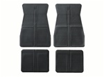 1973 - 1981 Floor Mats Set, Front and Rear, Rubber with Grippers, Black, GM, OE Style