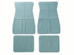 1973 - 1981 Camaro OE Style Rubber Floor Mats Set with GM Logo, Front and Rear, Light Blue