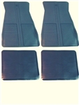 1973 - 1981 Floor Mats Set, Front and Rear, Rubber with Grippers, Dark Blue, GM, OE Style