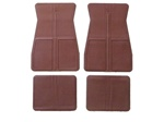 1973 - 1981 Floor Mats Set, Front and Rear, Rubber with Grippers, Dark Red, GM, OE Style