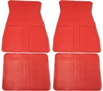 1973 - 1981 Floor Mats Set, Front and Rear, Rubber with Grippers, Red, GM, OE Style
