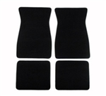 1970 - 1981 Black Cutpile Front and Rear Floor Mats Set, Carpeted with Grippers