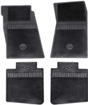 1967 - 1972 Camaro Floor Mats Set, Front and Rear, Rubber with Grippers, Black with Bowtie, OE Style